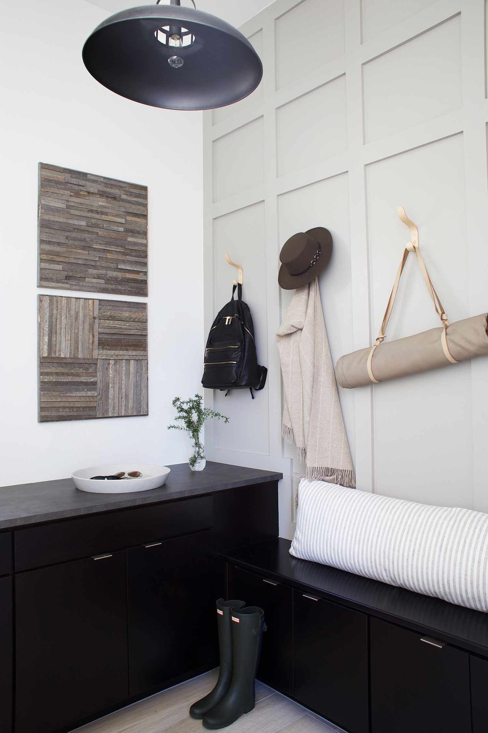 Stikwood wall art panel in mudroom