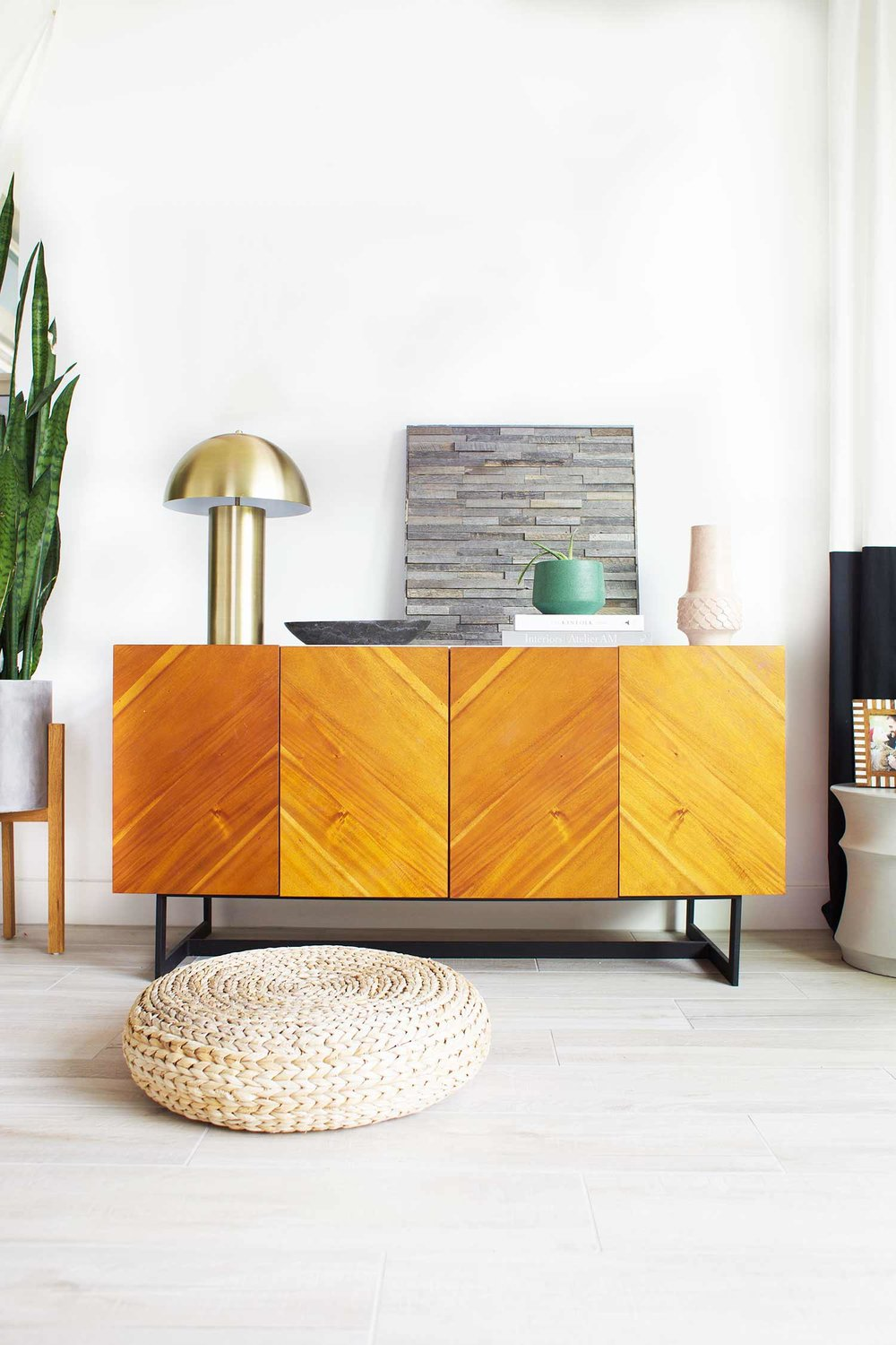 Stikwood wall art square panel on credenza