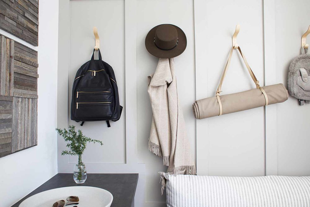 mudroom with Stikwood wall art