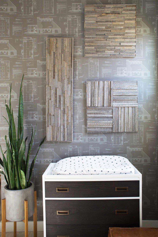 nursery featuring Stikwood wall art