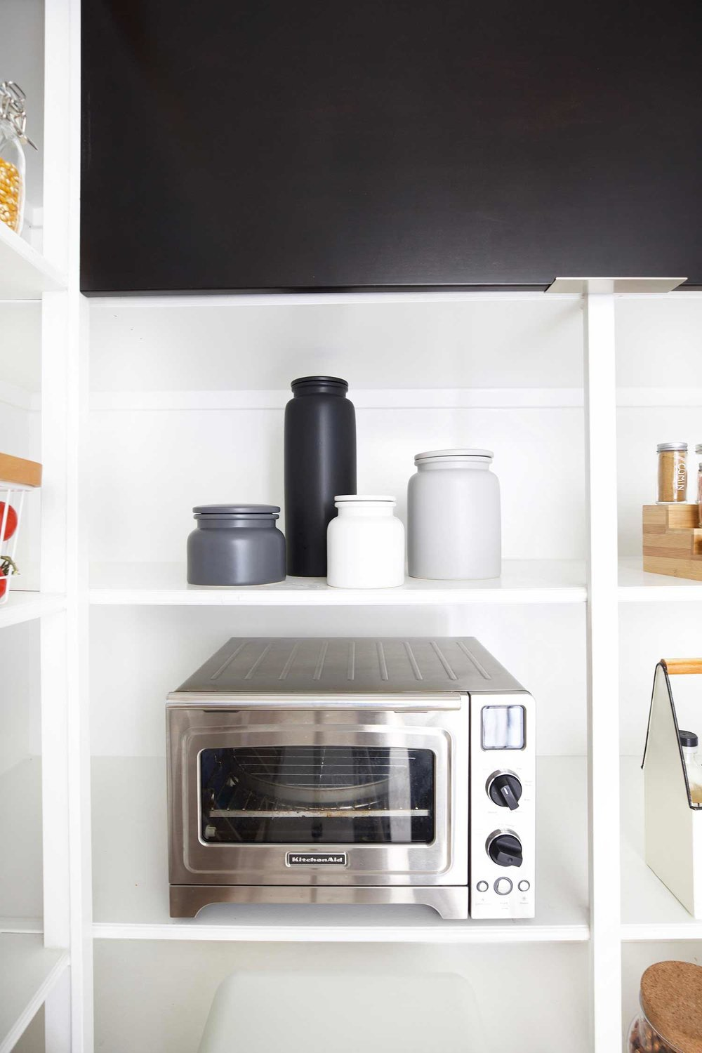 pantry reveal canisters and countertop oven