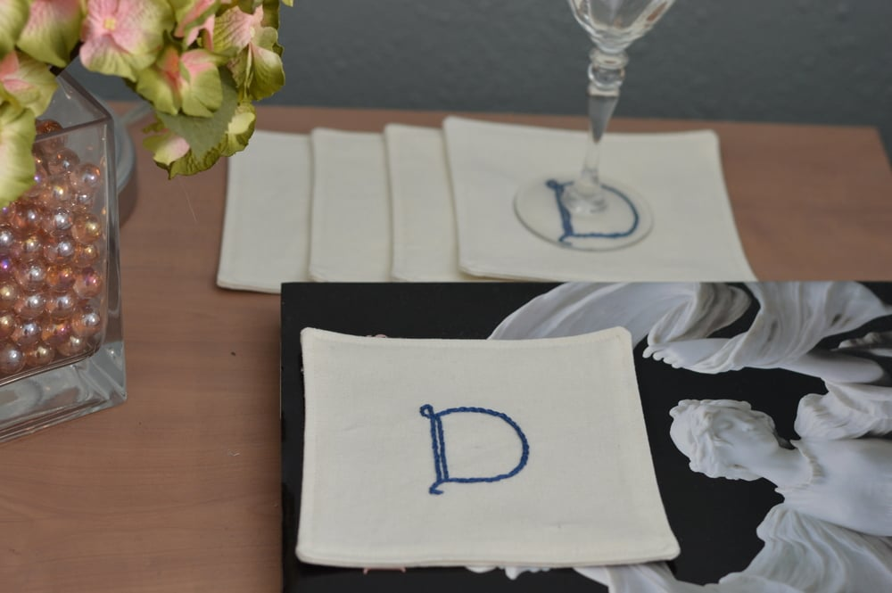 Hand Embroidered Linen Cocktail napkins