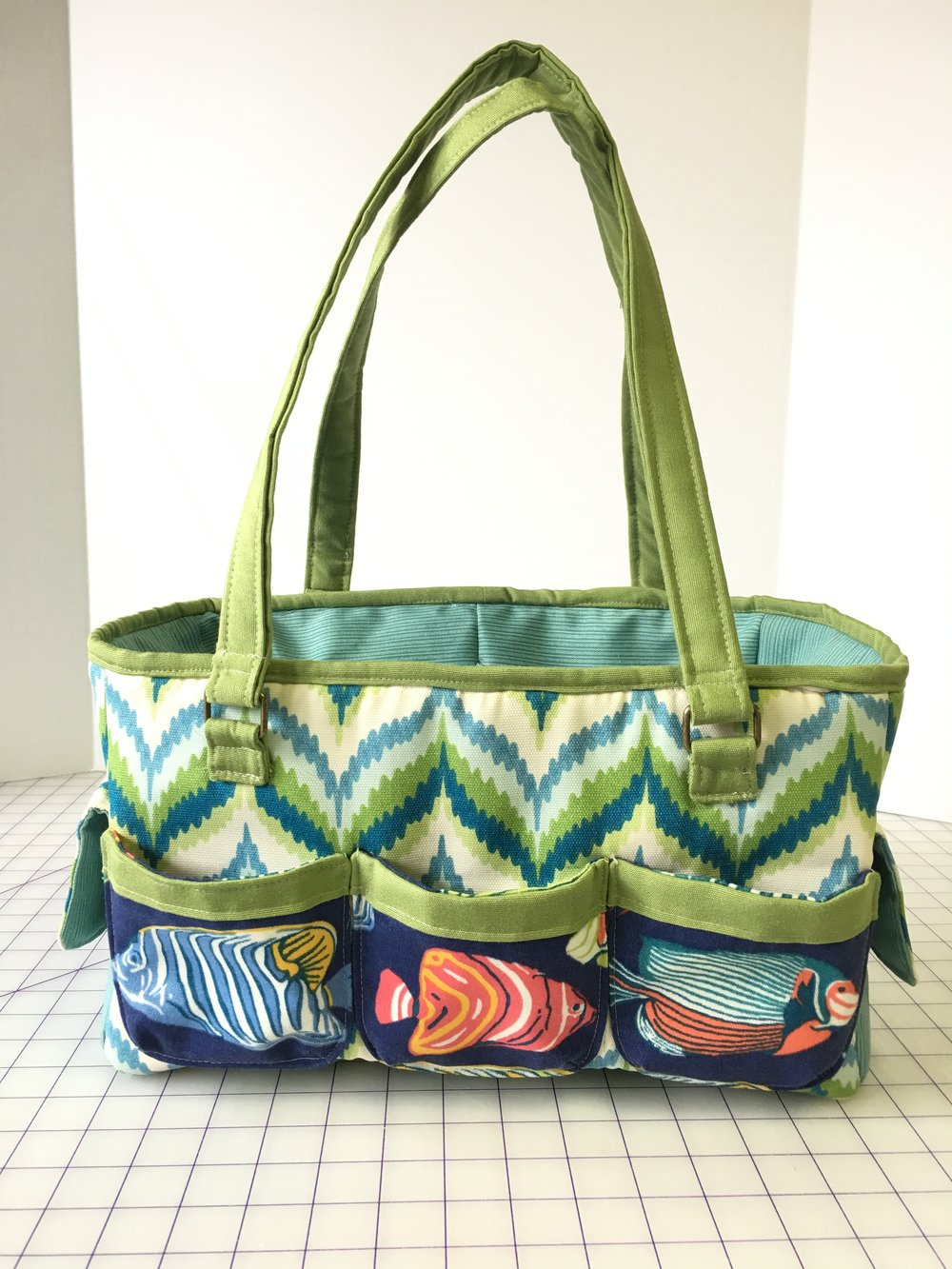 Completed Oslo Craft/Garden Bag in Outdoor fabrics