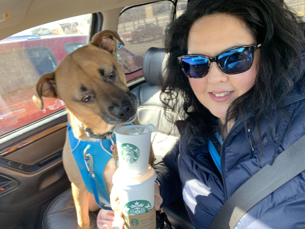 My Birthday was on the 25th (Monday) and Cooper and I having our annual Birthday Starbucks!