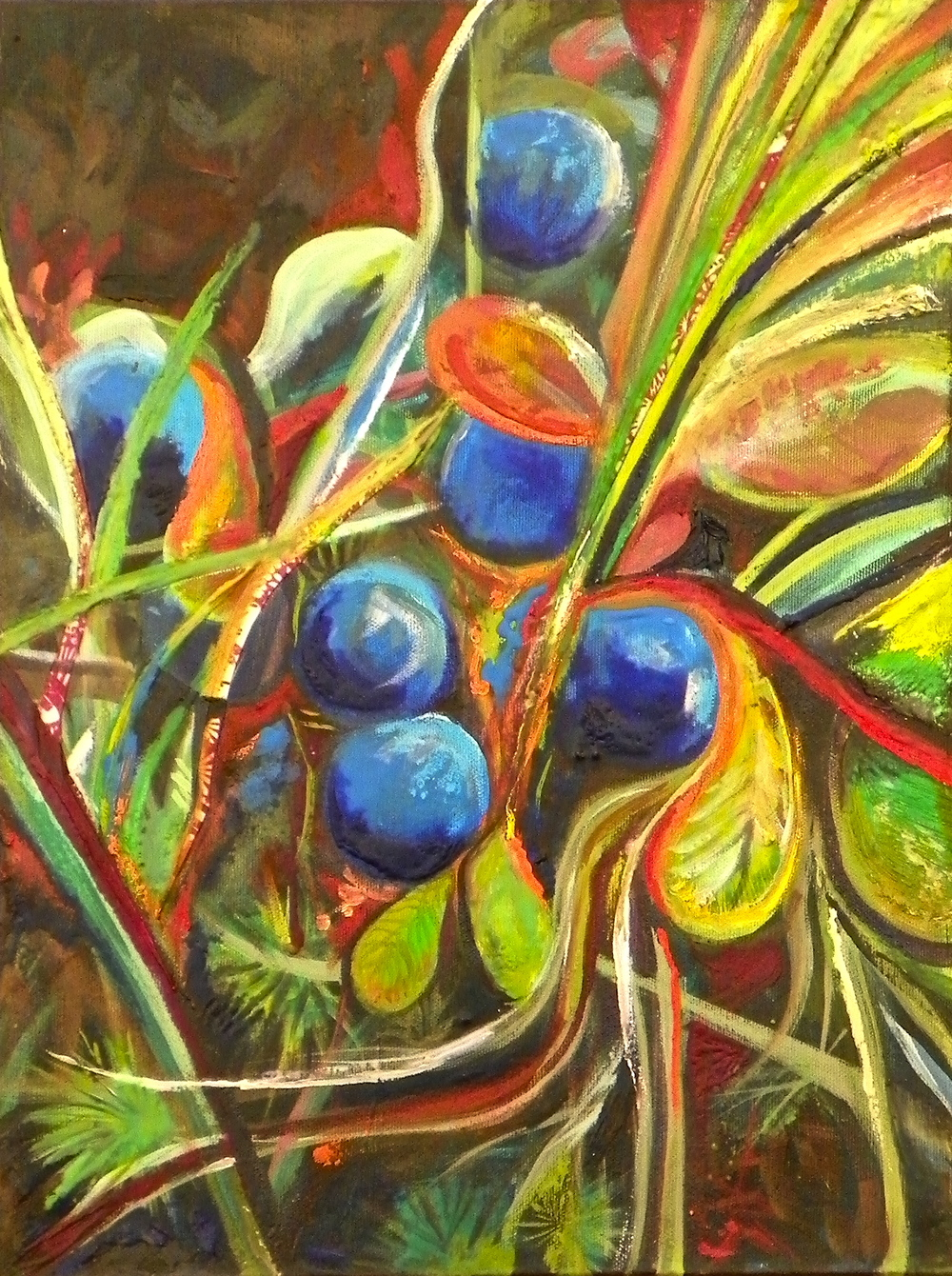 "Tundra Series: Blueberry -   Acrylic   on canvas - 14 "" x 11"" - 2011"