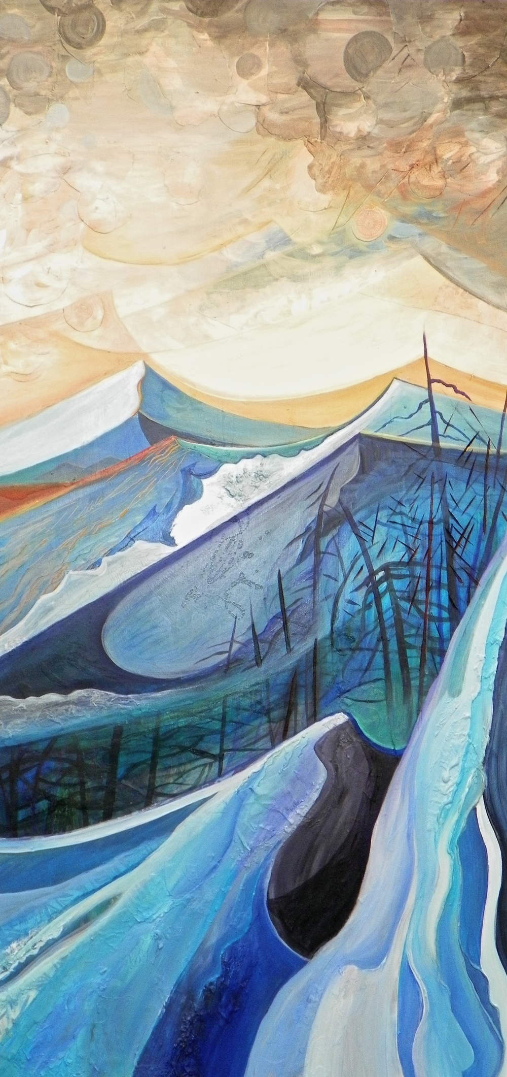 "Layers of the Mountain -   Acrylic   on canvas - 48 "" x 24"" - 2011"