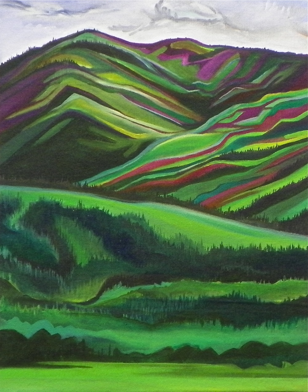 "Across the Valley -   Acrylic   on canvas - 20"" x 16"" - 2012"