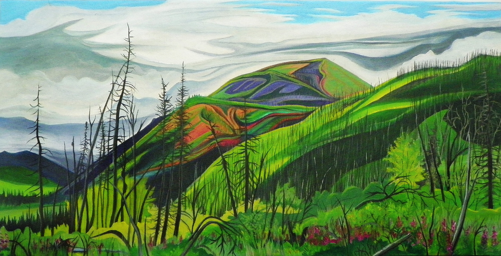 "Coal Creek Valley -   Acrylic and oil   on canvas - 15"" x 30"" - 2013"