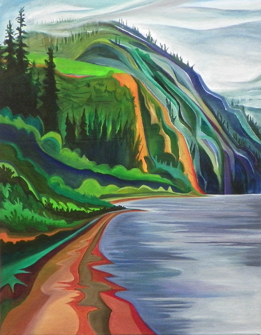 "On the Bank -   Acrylic   on canvas - 28"" x 22"" - 2012"