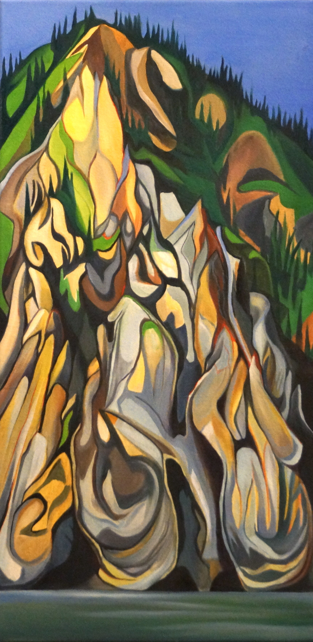 "Takoma Bluff -  Oil and acrylic on canvas - 30"" x 15"" - 2013"