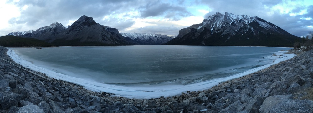 Lake Minnewanka and the dramatic geomorphology of the Northern Rockies–taken during a road-trip through Banff and Jasper in March 2015.