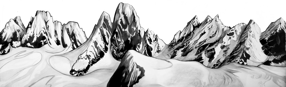 "Ferebee Glacier  - 24"" x 60"" - Ink and charcoal on Strathmore"