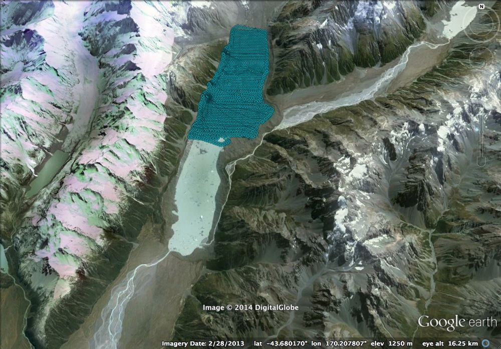 Blue markers show aerial photo locations atop Tasman Glacier. The full survey spanned over 6km in length along the glacier.