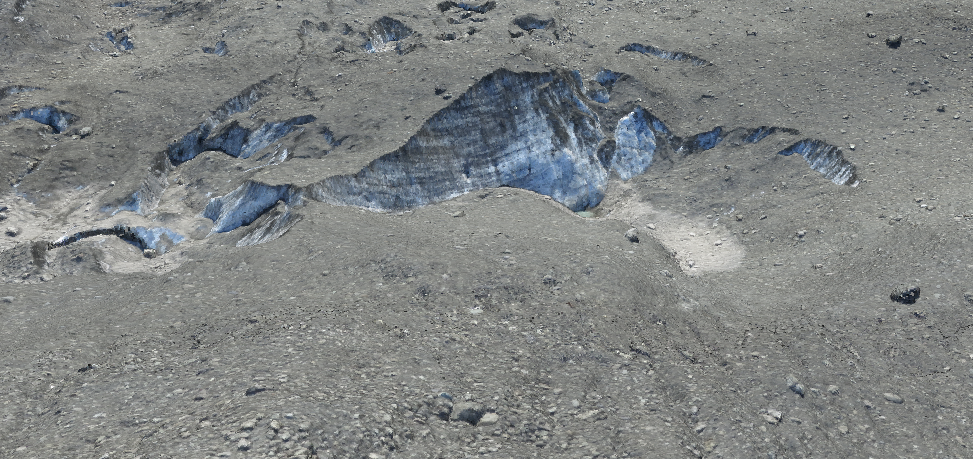 A zoomed-in view of an exposed ice surface, which is approximately 100 meters wide.