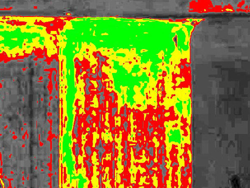 Agribotix UAV-collected VI imagery recognized that the wheat density observed from the road was not indicative of the whole field. The red areas will likely produce less wheat.