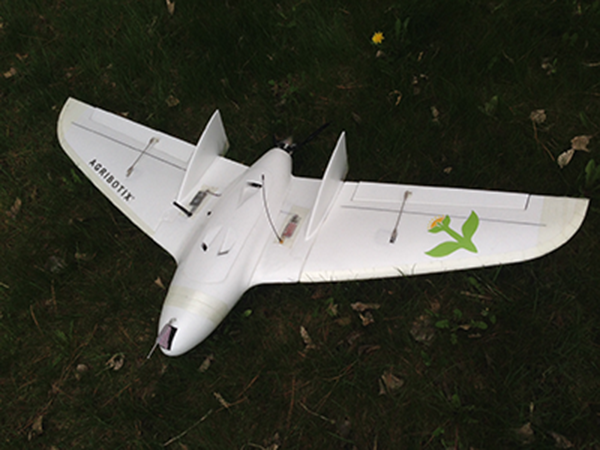 The Agribotix Hornet uses a flying wing design enabling easy set up and tear down, rugged performance in rough agricultural conditions, and strong wind handling capabilities. The Hornet is designed to survey a quarter section in 20 minutes.