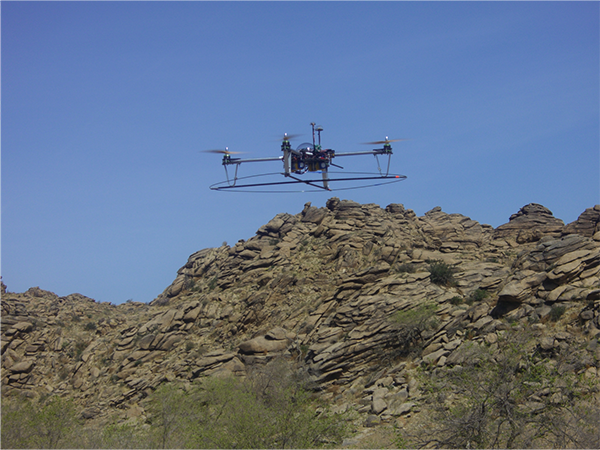 The Agribotix quadcopter in action in Ikh Nart Nature Reserve in Mongolia.