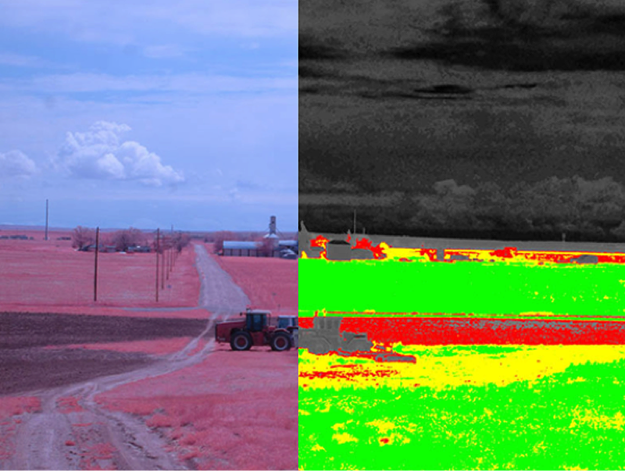 A Difference Vegetation Index (DVI) image of a farm. High vegetation density is shown in green, poor density in red, and non-vegetation in black. DVI is calculated by subtracting the green signal from the NIR signal.