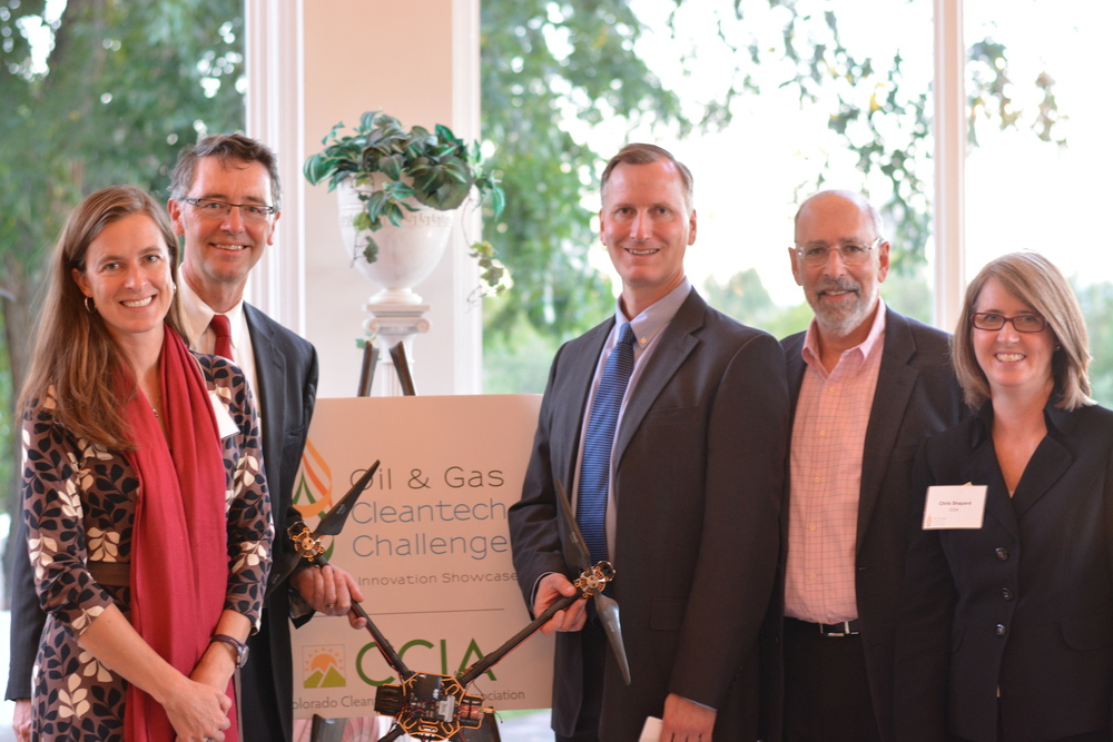 Agribotix principals Tom McKinnon, Paul Hoff, and Wayne Greenberg are joined by CCIA representatives Shelly Curtis and Chris Shapard at the Governor's Mansion after the announcement of the winners.