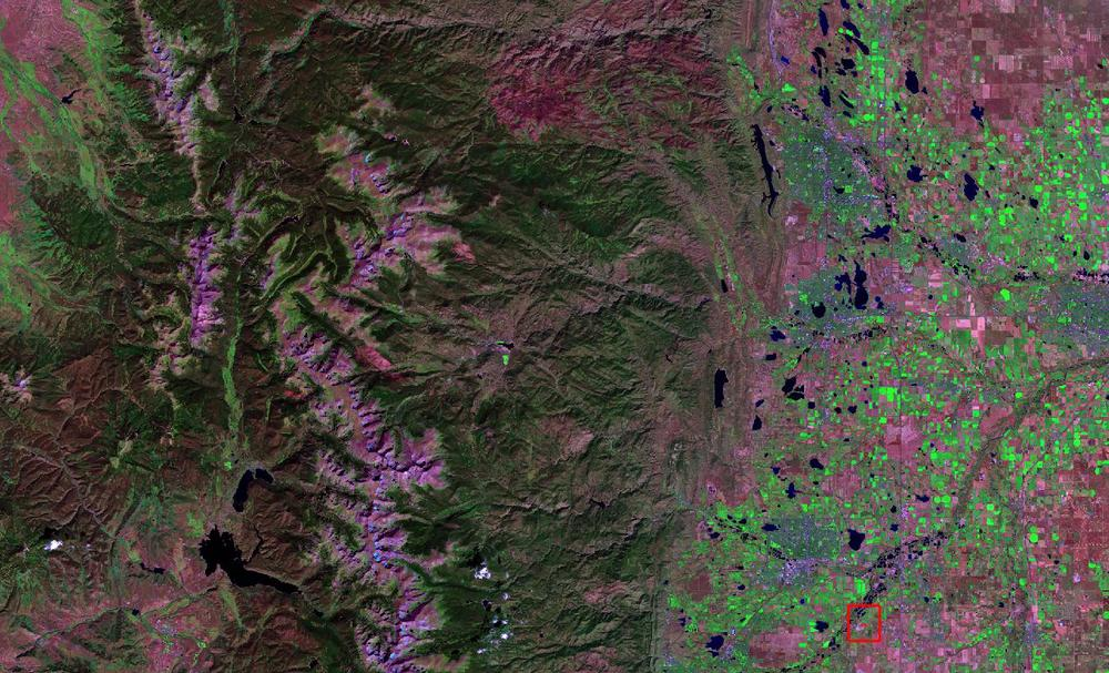 Landsat 8 color infrared compositeimage acquired over the Colorado Front Range, September 20th, 2014. The test plot is inside the red box.