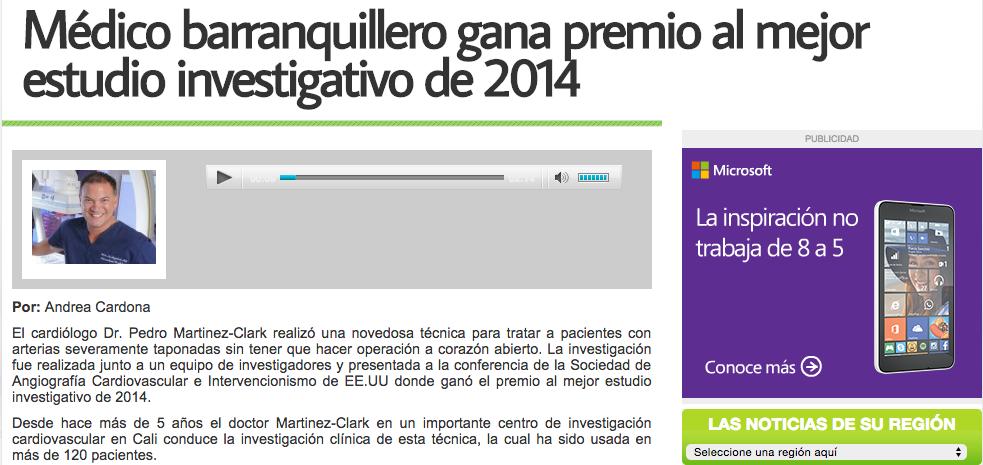 RCN Radio: Médico barranquillero gana premio al mejor estudio investigativo de 2014