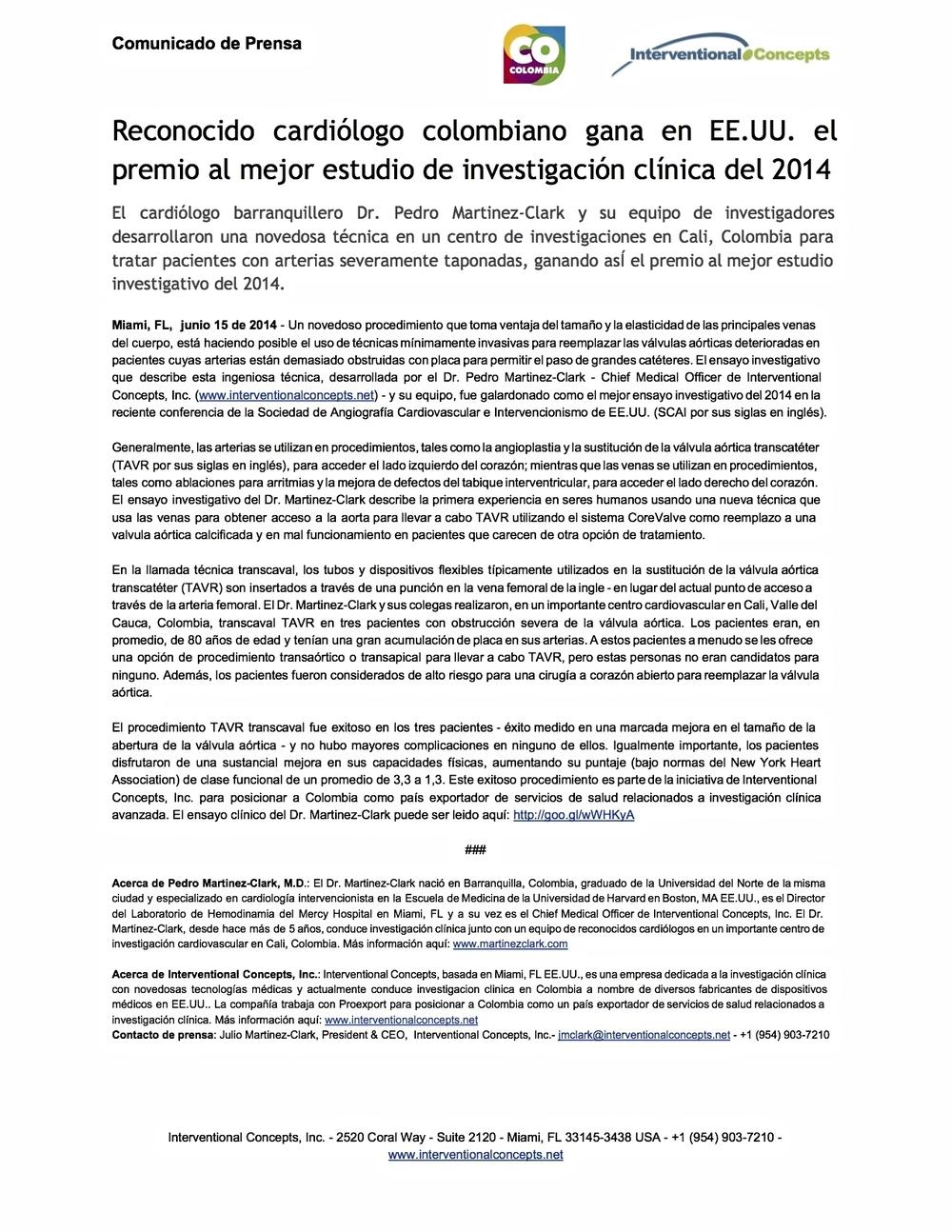 Reconocido cardiólogo colombiano gana en EE.UU. el premio al mejor estudio de investigación clínica del 2014.