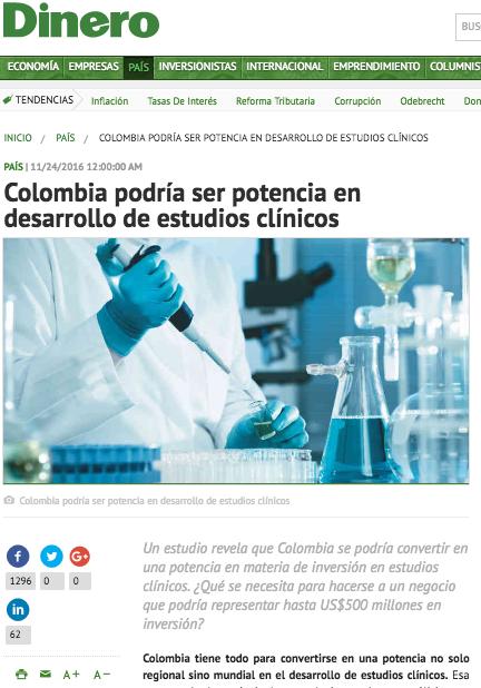 Colombia podría ser potencia en desarrollo de estudios clínicos. Dinero.com, noviembre 24, 2016