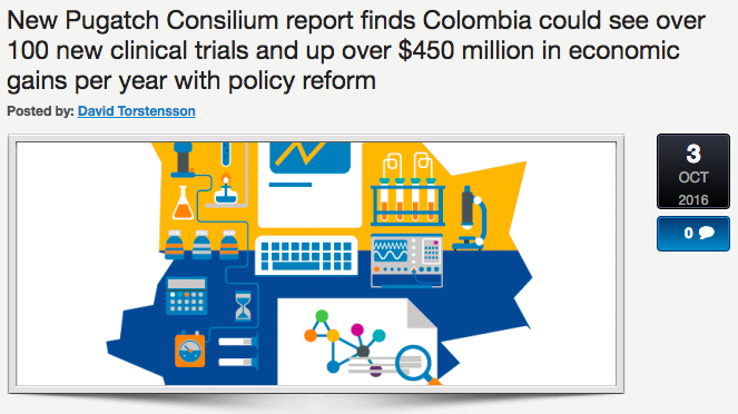 New Pugatch Consilium report finds Colombia could see over 100 new clinical trials and up over $450 million in economic gains per year with policy reform