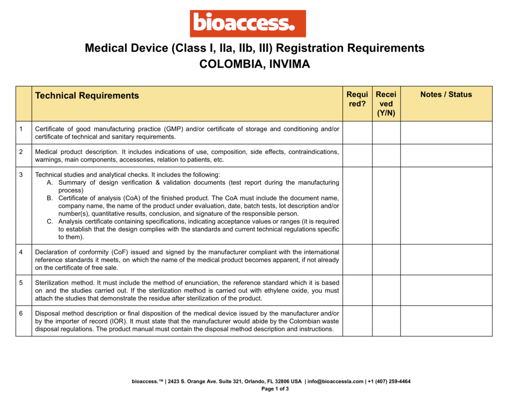 INVIMA Colombia | Medical Device Registration | Document Requirements