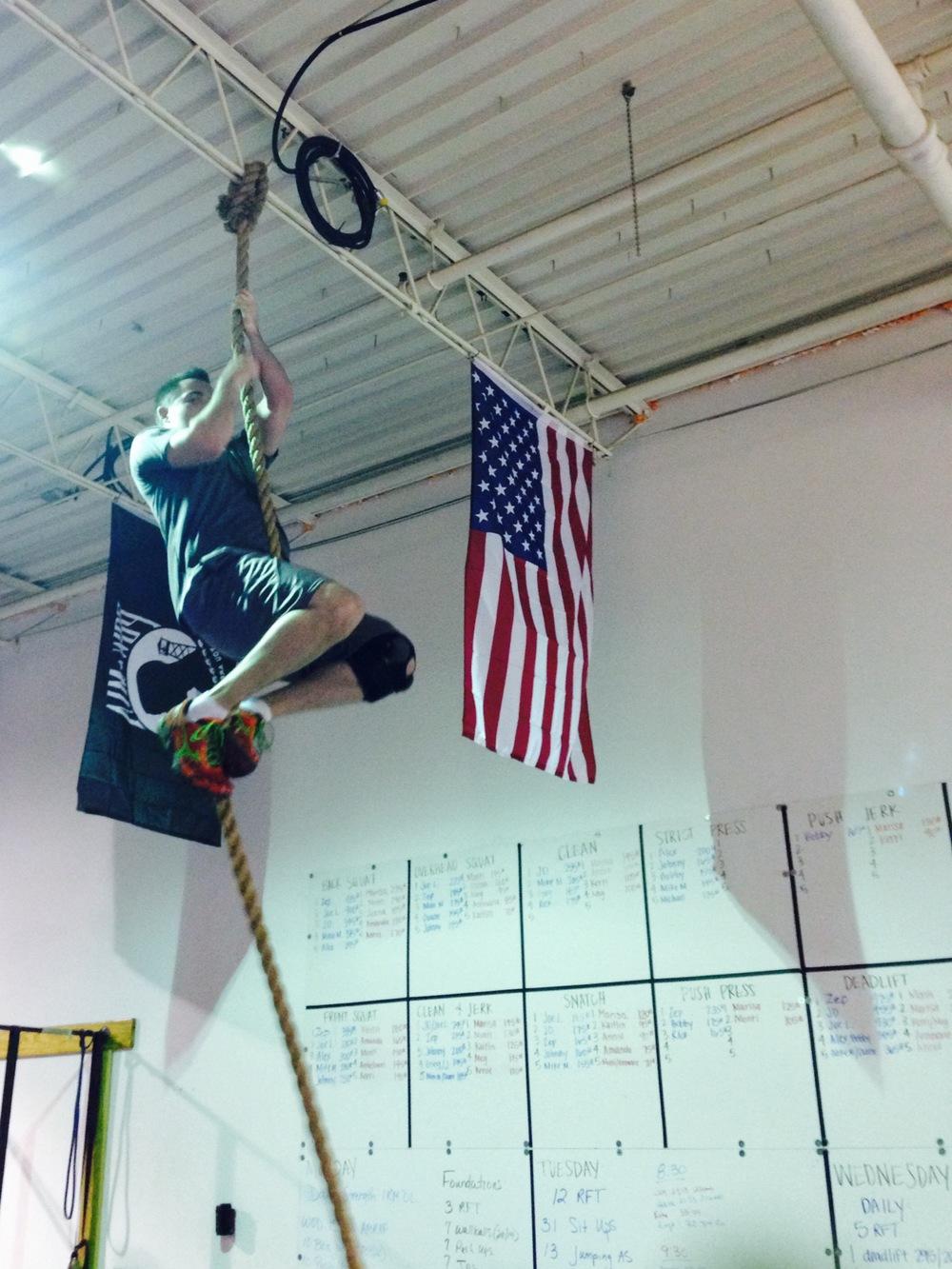 Brandon. Rope climb.