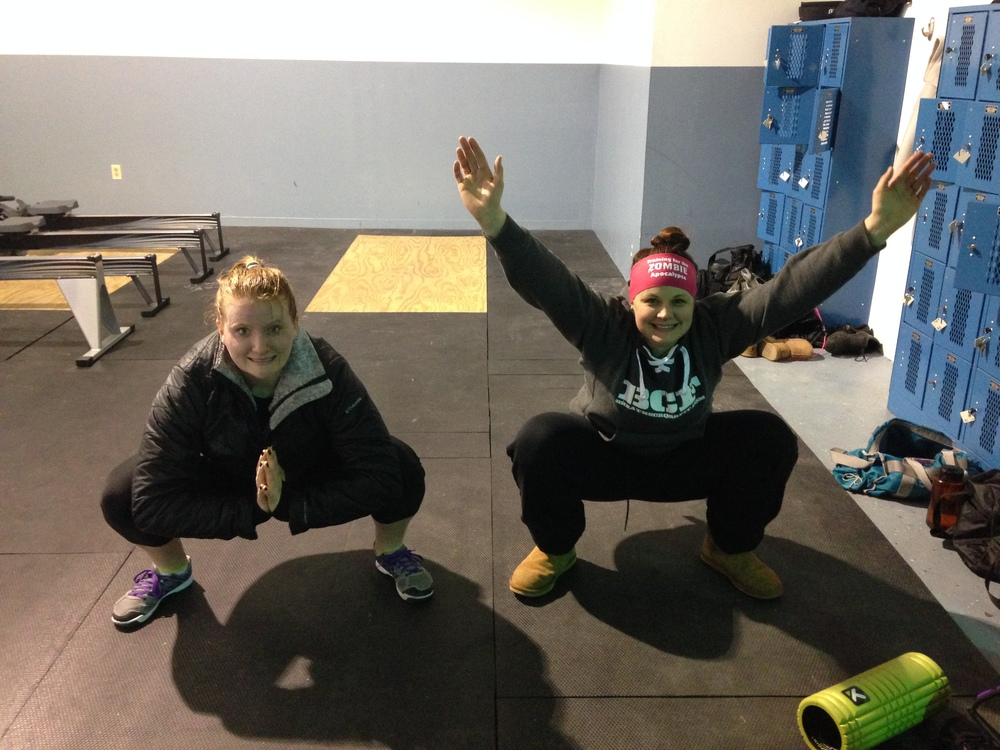 Amanda and Kaitlin. Squats