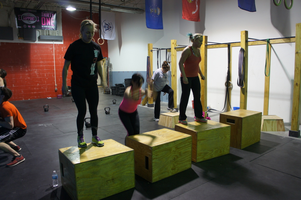 Box jumps. Carrie, Rosa, Meg, Denise