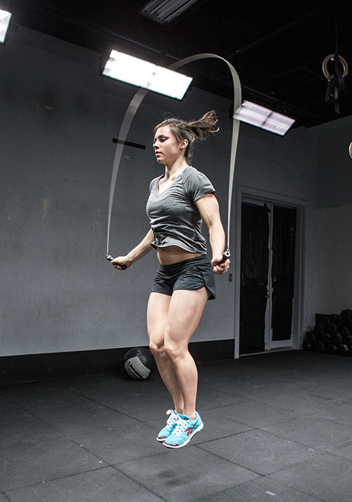 This is Julie, Julie practices double unders Be like Julie Sign up for the double unders clinic this Saturday