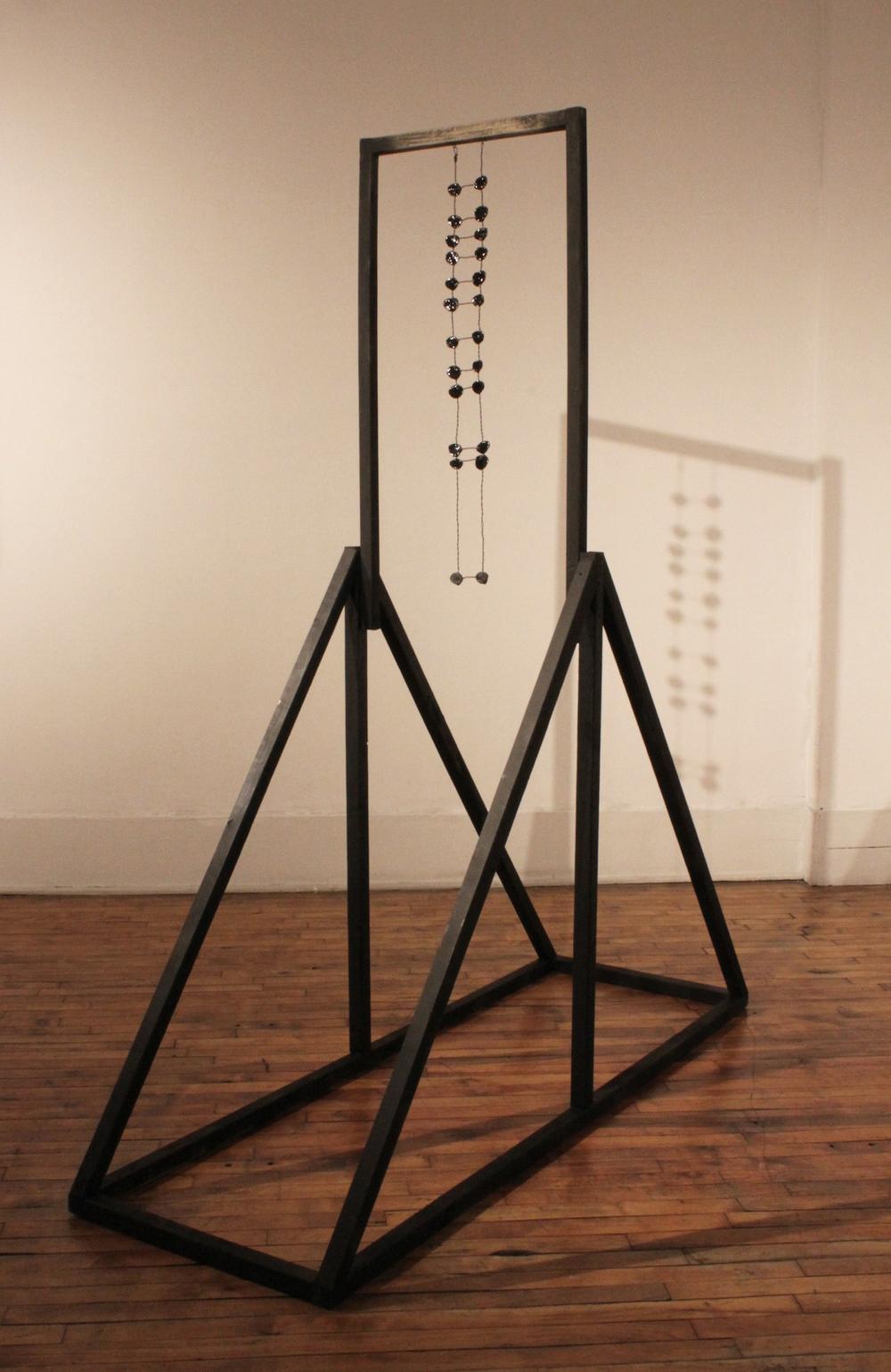 """Soo Shin\ Eye Swing\ wood, primer, resin, wire\ h96"""" w24"""" d96""""\ 2014"""