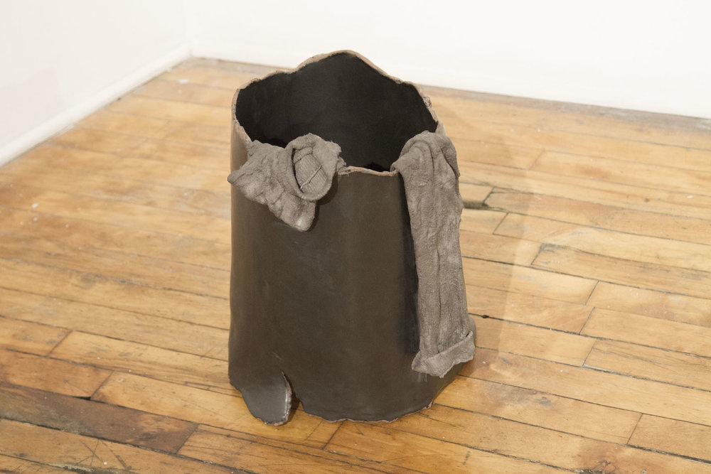 """Soo Shin\ Carried\ socks dipped in concrete, stoneware with glaze\ h 17"""" w12"""" d12""""\ 2016"""