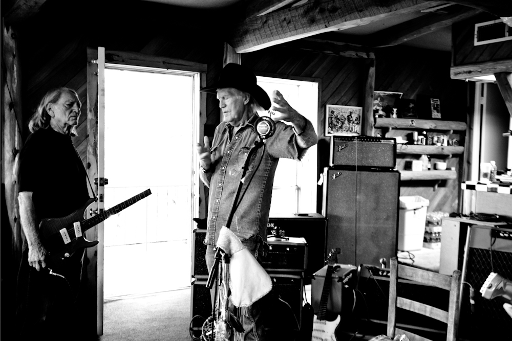 Willie Nelson and Billy-Joe Shaver at the Lakehouse, Bee Cave, T