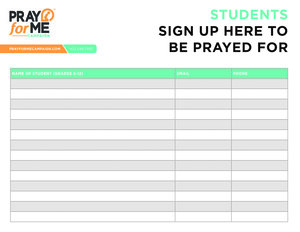 students sign up here to be prayed for