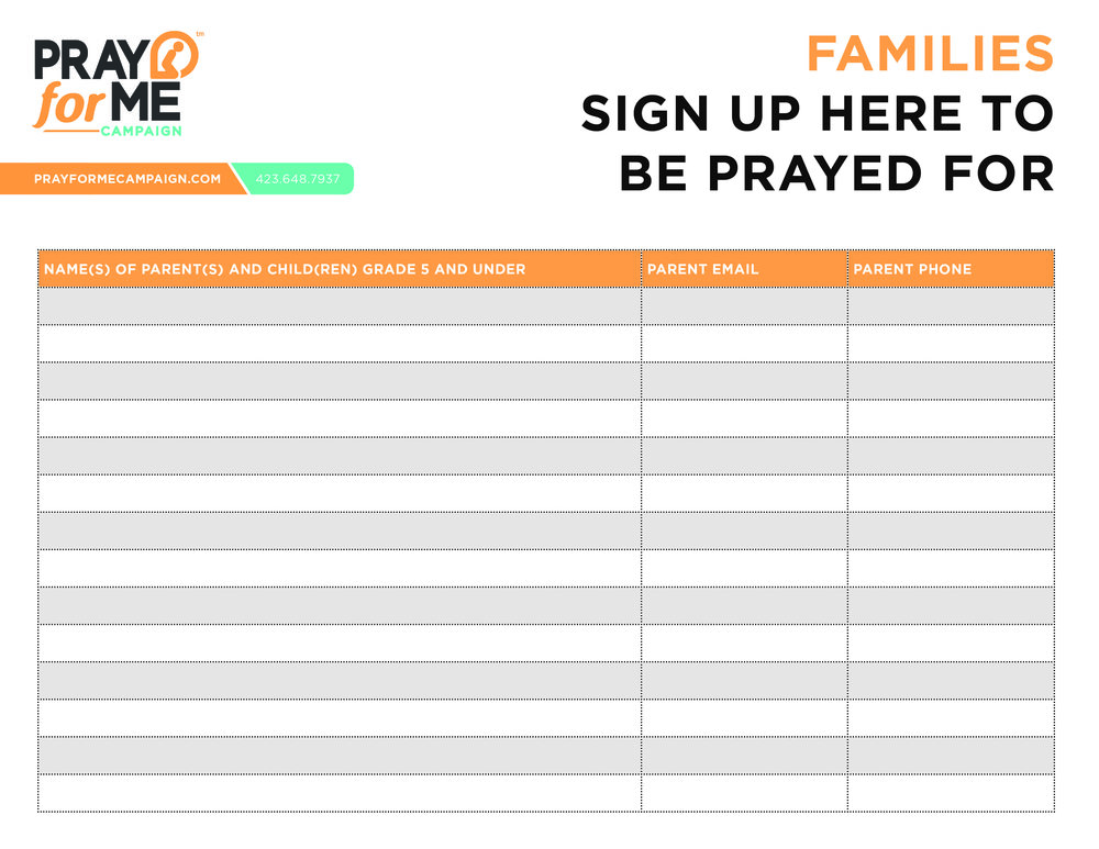 Family Sign Up Sheet