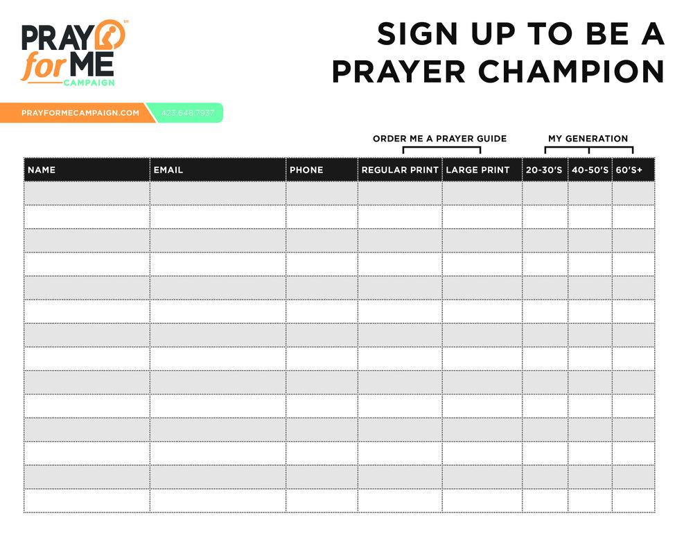 Prayer Champion Sign Up Sheet