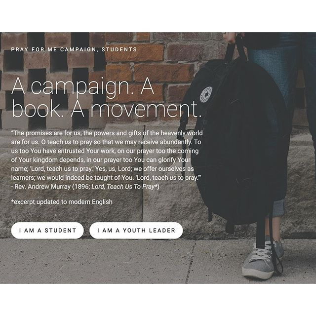 Have you been to our #PrayforMeStudents section of our website? Head over and check out all that we have for both you and your students! #PrayforMeCampaign  http://www.prayformecampaign.com/studentscover