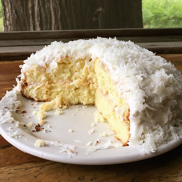 Made a mini #gf version of the cake my mama and Grammie made for our wedding almost 14 years ago. It's as yummy as it looks, and almost as good as that famous, giant coconut cake that we ate that day- and for a week afterward!