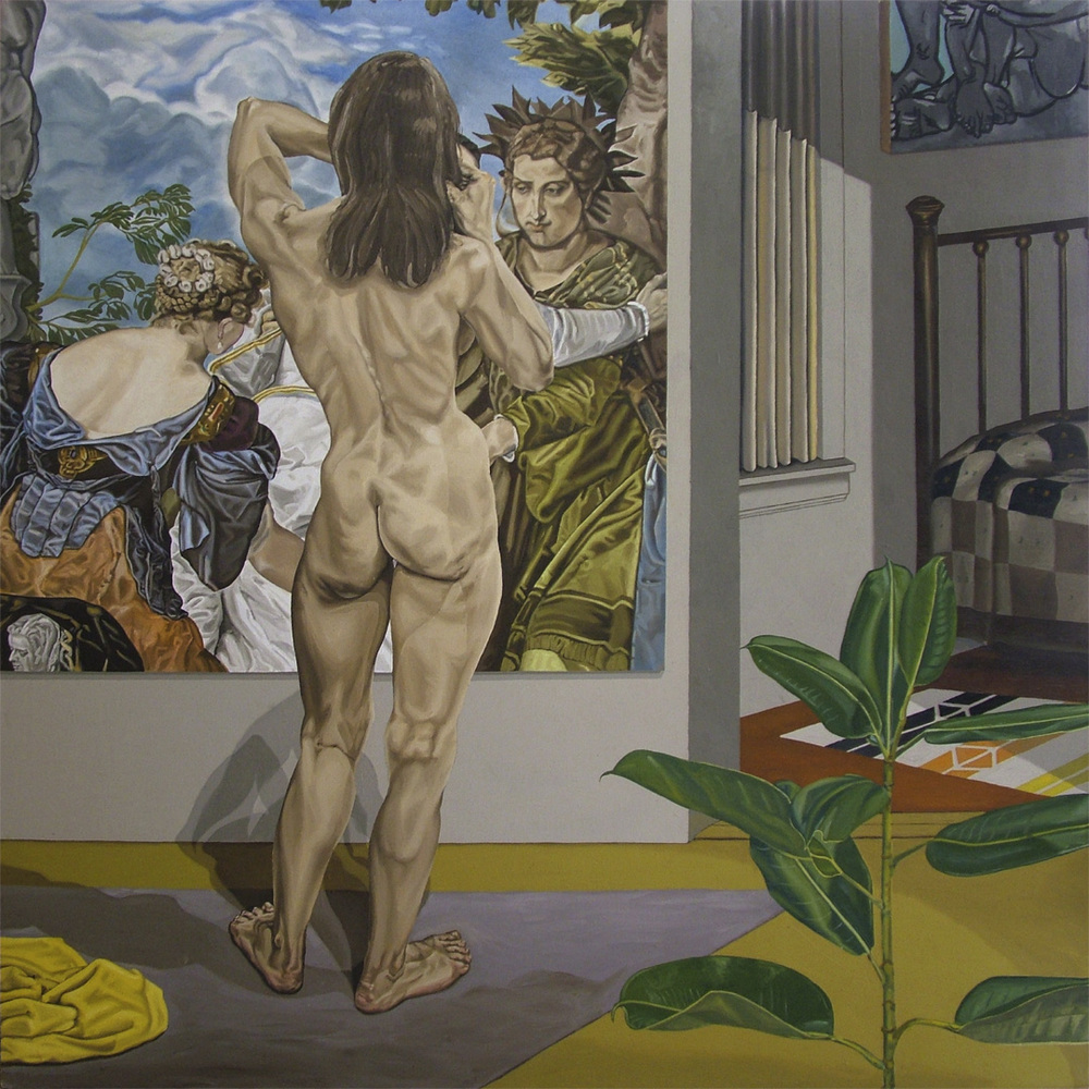 "Nude with Yellow Towel, 1972   72"" x 72' Oil on linen"