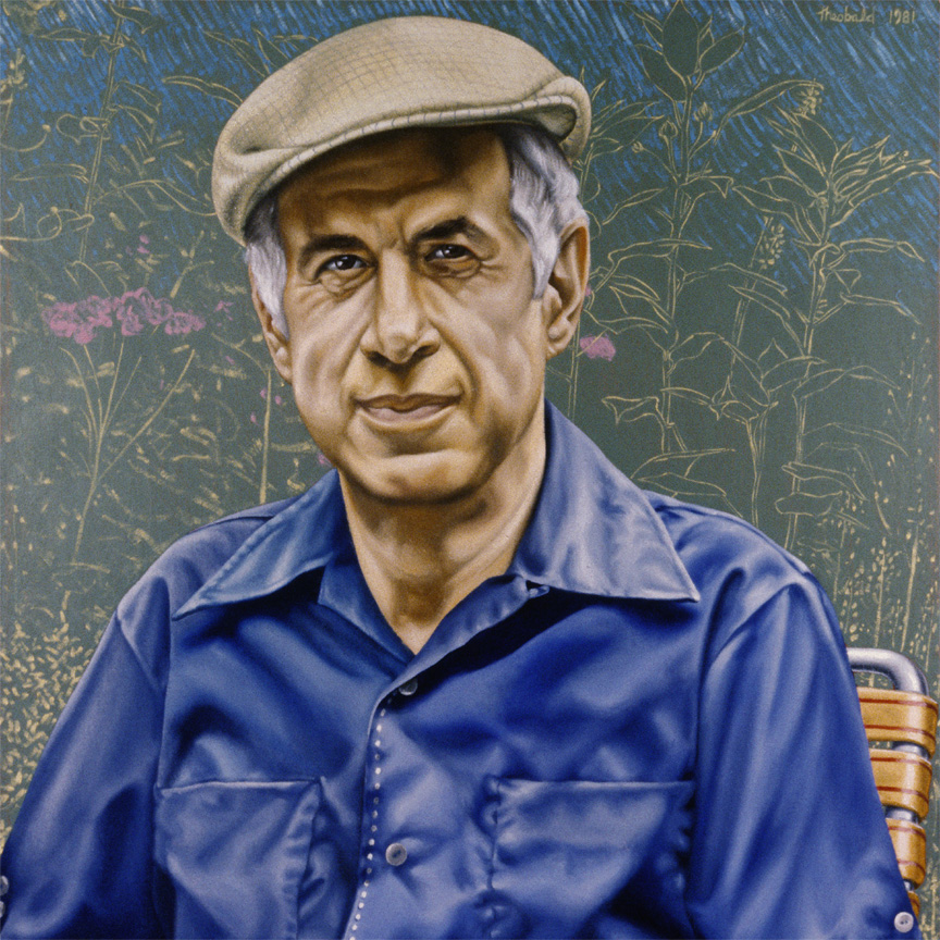 "Portrait of Chuck Pressman, 1981   18"" x 18"" Oil on linen"
