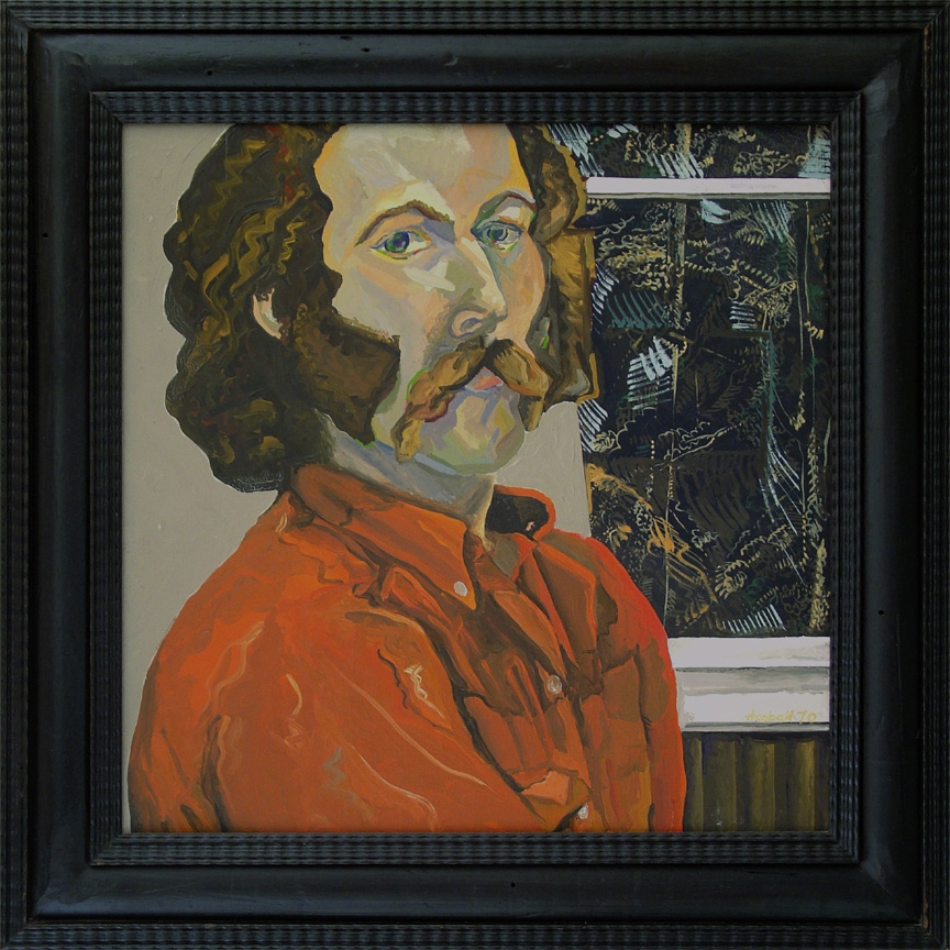 "Self Portrait, 1970  18"" x 18"" Oil on panel"