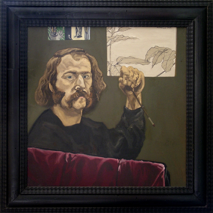 "Self Portrait, 1971  18"" x 18""  Oil on linen"
