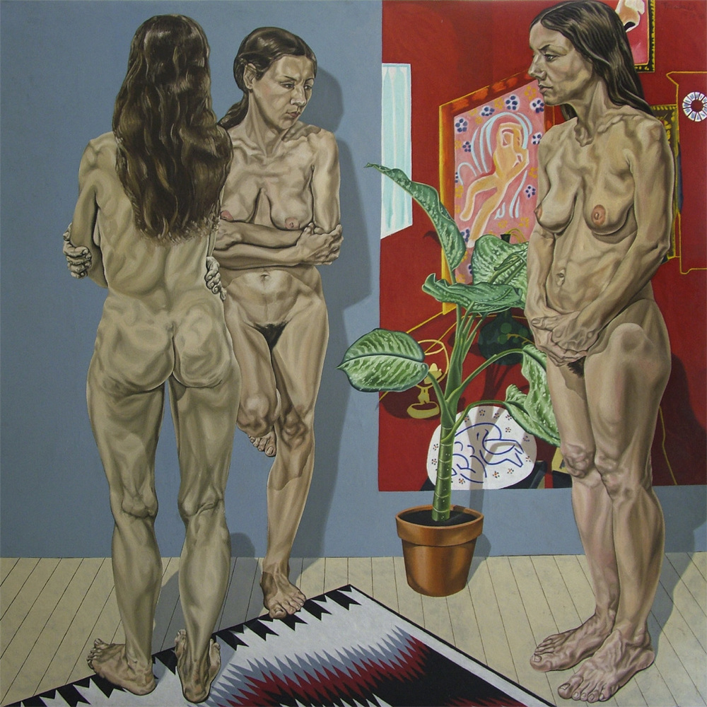 "Three Nudes with Red Studio, 1972   72"" x 72"" Oil on linen"