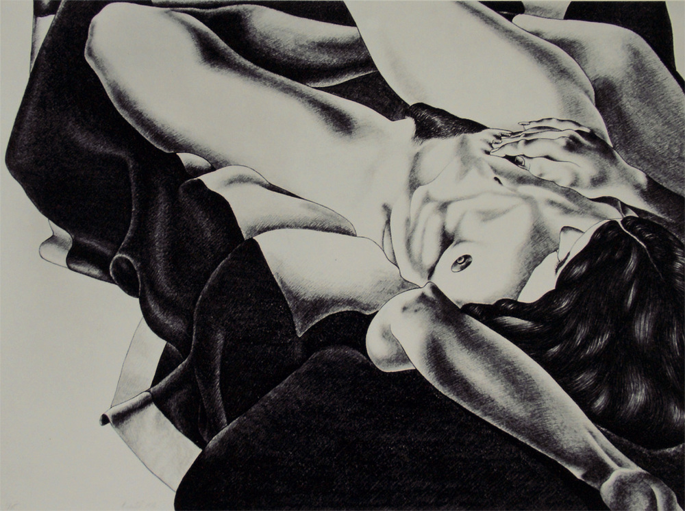 "Nude on a Black and White Blanket, 1976  22.5"" x 30"" Lithograph on Rives BFK natural"