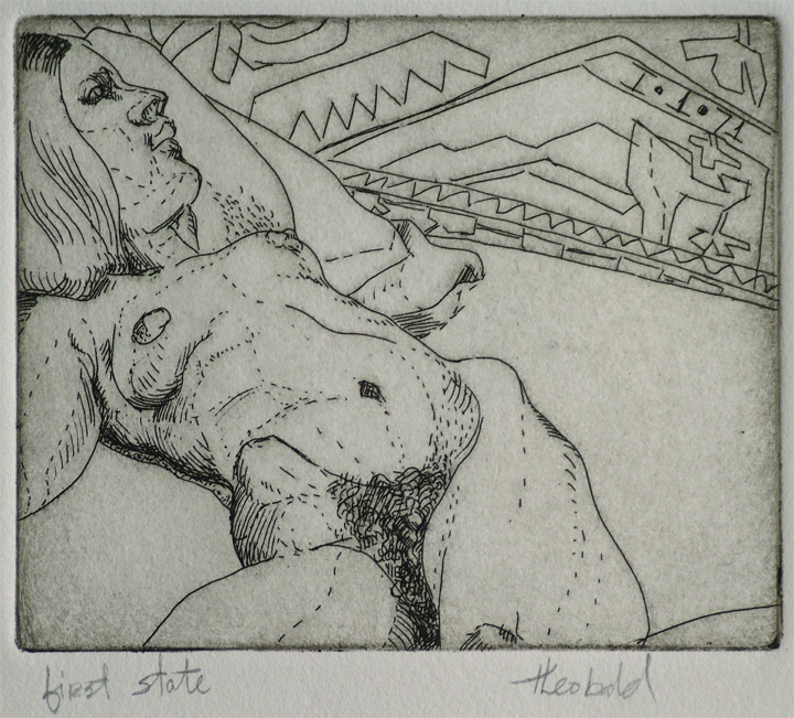 "Reclining Nude (1st state), 1971  4"" x 5"" Etching"