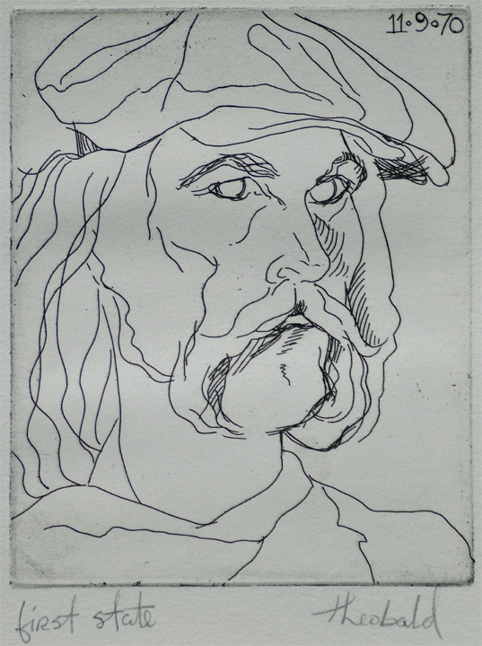 "Self Portrait in Hat (1st state), 1970  4"" x 5"" Etching"