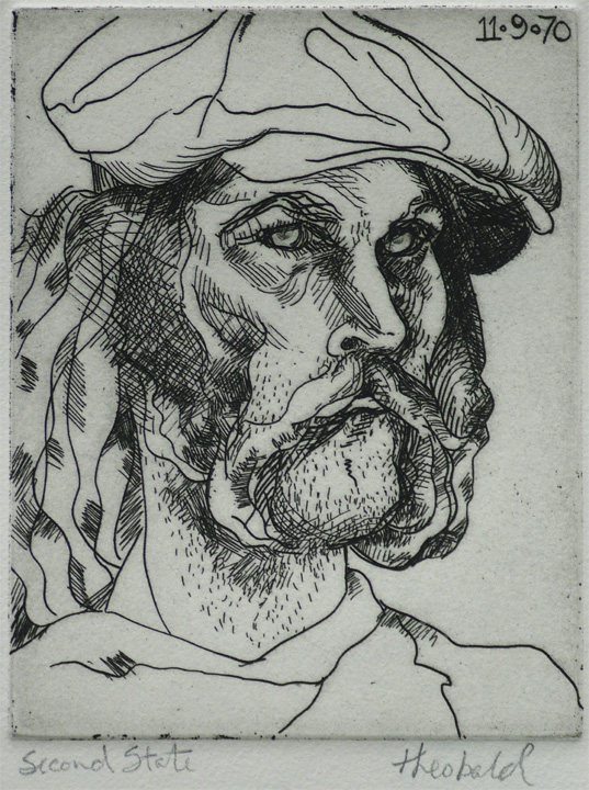 "Self Portrait in Hat (2nd state), 1970  4"" x 5"" Etching"